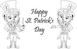 Świętego Patricks dnia Leprechaun dymienia drymby kolorytu książka Zdjęcia Stock