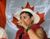 Witer/poeta/cantor canadenses, Honey Novick no dia de Canadá Fotografia de Stock