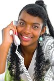 With A White Telephone Royalty Free Stock Image