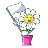 With Flag Daisy Flower Mascot Cartoon Royalty Free Stock Photos