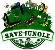 Withbirdwing Schmetterlinge des Vektor-Dschungel-Emblems Stockfotografie