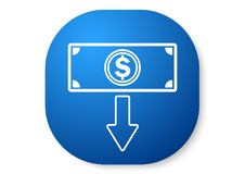 Withdraw blue icon. Vector design of icon button blue color Royalty Free Stock Image