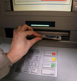 Withdrawal of money in European banknotes Royalty Free Stock Photos