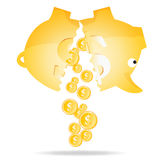 Withdrawing Money from Savings. Vector illustration of a piggy bank cracked in two and pouring golden dollar coins Royalty Free Stock Photography