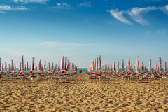 Withdrawn umbrellas and sunlongers. Withdrawn yellow umbrellas and sunlongers on the sandy beach in Italy Royalty Free Stock Photography