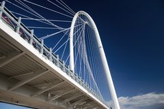 The withe bridge. The bridge on the motorway on a blue sky Stock Photo