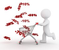 Withe character and reductions. White character and reductions in shopping Royalty Free Stock Photos