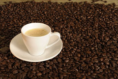 Withe cup of coffee between beans Royalty Free Stock Images