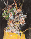 Withered flowers in a vase. Oil painting illustrating a bouquet of withered flowers in a vase on black background Stock Photos