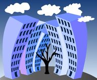 Multi-storey houses and a tree. The withered tree in the city vector illustration Royalty Free Stock Photo