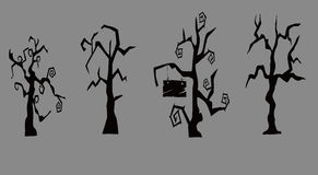 Withered tree. Vector graphics, cartoon image,Withered tree,Halloween material Stock Photo