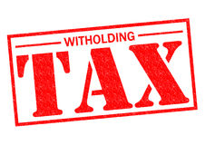WITHOLDING TAX. Red Rubber Stamp over a white background Royalty Free Stock Images