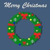 Withornaments венка рождества в форме лент, шариков, снежинок и звезд С Рождеством Христовым дизайн шаржа Illustr вектора иллюстрация вектора