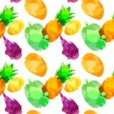 Withpineapple inconsútil del modelo, mango, fruta draconiana, durian con las manchas blancas /negras y manchas en un fondo blanco stock de ilustración