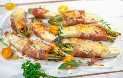 Witlof with prosciutto and  mozzarella Stock Photography