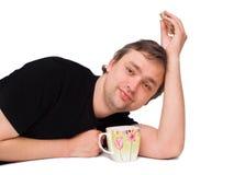 witn чая кружки человека Стоковые Изображения