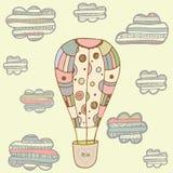 Witn dibujado mano de la tarjeta de felicitación del baloon del aire de Catoon Fotografía de archivo libre de regalías