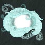 Облака круглого witn рамки волнистые курчавые Обрамленный whorls и striped экземпляр-космоса подач Заволокли шаблон космоса экзем стоковая фотография