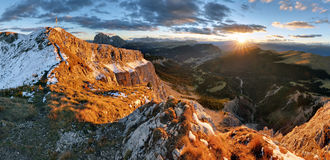 Witner autumn mountain, Val Gardena from peak Seceda, Royalty Free Stock Photo