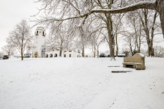 Witner park in Boise Idaho with white depot. Snow covered city part and depot building royalty free stock images