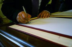 Witness signature of wedding register. Royalty Free Stock Images