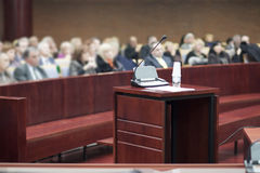 Witness stand at court house Stock Photo