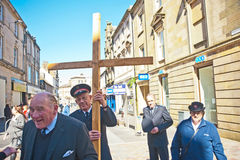 Witness to Crucifixion of Jesus at Easter. Salvation Army witnessing for Jesus Christ on Easter, Good Friday in High Street, Inverness Royalty Free Stock Photos