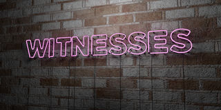 WITNESSES - Glowing Neon Sign on stonework wall - 3D rendered royalty free stock illustration Stock Photos