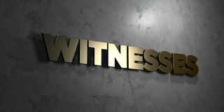 Witnesses - Gold text on black background - 3D rendered royalty free stock picture Royalty Free Stock Images