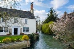 WITNEY, OXFORDSHIRE/UK - 23 MARZO: Cottage pittoresco accanto alla t Fotografia Stock