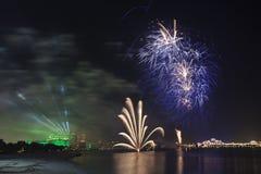 Święto Państwowe fajerwerki w Abu Dhabi, UAE Zdjęcie Stock