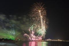 Święto Państwowe fajerwerki w Abu Dhabi, UAE Obrazy Stock