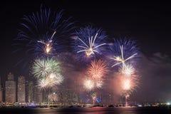 Święto Państwowe fajerwerki w Dubaj Fotografia Royalty Free