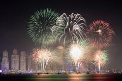 Święto Państwowe fajerwerki w Dubaj Zdjęcia Stock