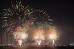 Święto Państwowe fajerwerki w Dubaj Zdjęcia Royalty Free
