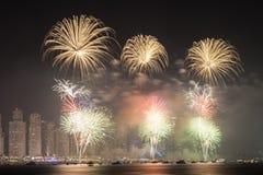 Święto Państwowe fajerwerki w Dubaj Zdjęcie Royalty Free