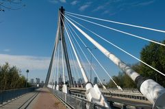 Świętokrzyski Bridge in Warsaw  - hanging ropes Royalty Free Stock Photos