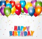 Świętowania tło z balonami, confetti Obraz Stock