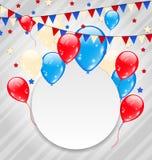 Świętowanie karta z balonami w flaga amerykańska kolorach Zdjęcia Stock