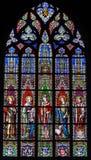 Witraż - święty Emilius, Joanna, Eugene, Agnes i Sierpień, obraz stock