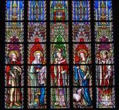 Witraż - święty Emilius, Joanna, Eugene, Agnes i Sierpień, obrazy royalty free