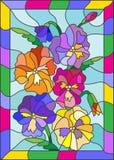 Witraż ilustracja jaskrawi kwiaty z pansies na błękitnym tle w ramie Zdjęcie Stock