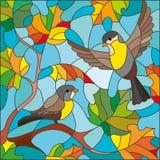 Witraż ilustracja na temacie jesień, dwa Tits i yellowed liście klonowi Obraz Stock