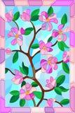 Witraż ilustracja rośliny gałąź z liśćmi i menchiami kwitnie w różowi ramę Obrazy Royalty Free