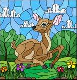 Witraż ilustracja z źrebięciem na tle zielone łąki, kwiaty i chmurny niebo, royalty ilustracja