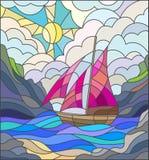 Witraż ilustracja z żeglowanie łodzią, seascape Zdjęcia Stock