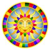Witraż ilustracja z abstrakcjonistycznym słońcem w jaskrawej ramie, round wizerunek Zdjęcie Royalty Free