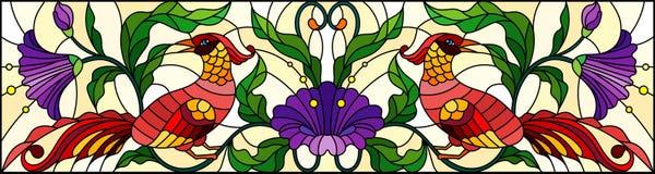 Witraż ilustracja z abstrakcjonistycznymi czerwonymi ptakami i purpurami kwitnie na lekkim tle, lustro, horyzontalny wizerunek ilustracji
