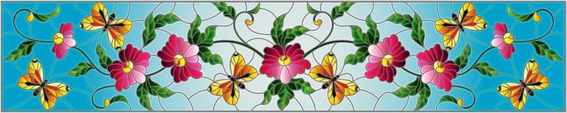 Witraż ilustracja z abstrakcjonistycznymi kędzierzawymi menchiami kwitnie i purpurowy motyl na błękitnym tle, horyzontalny wizeru ilustracja wektor