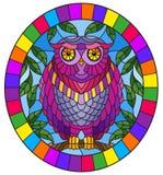 Witraż ilustracja z bajecznie purpurowym sowy obsiadaniem na gałąź przeciw niebu, owalna obrazek rama w jaskrawym royalty ilustracja
